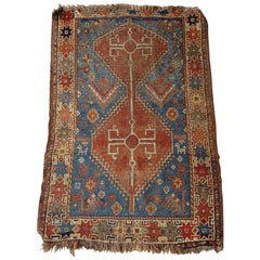 Early 20th Century Hand Knotted Caucasian Shirvan Rug Wool on Wool