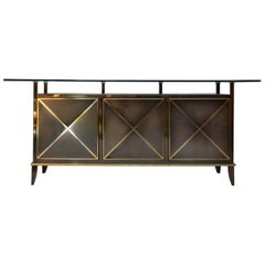 Brass, Glass Sideboard by Belgo Chrome DeWulf Selection, 1980s