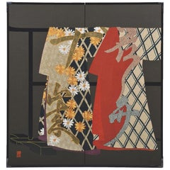 Large Contemporary Japanese Red Black Gilded Silk Folding Screen
