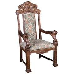 Historical Neo Renaissance Armchair with Lion Armrests, circa 1850s-1870s