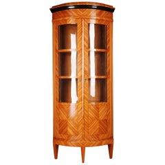 20th Century Corner Vitrine in Classic Biedermeier Style Rosewood