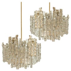 Pair of Large Modern Brass Ice Glass Chandeliers by J. T. Kalmar