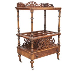 19th Century burr walnut Canterbury with a carved and pierced gallery