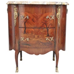 Early 19th Century freestanding French marquetry cabinet with a marble top