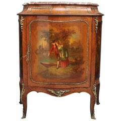 19th Century French Kingwood and brass mounted cabinet with original marble top