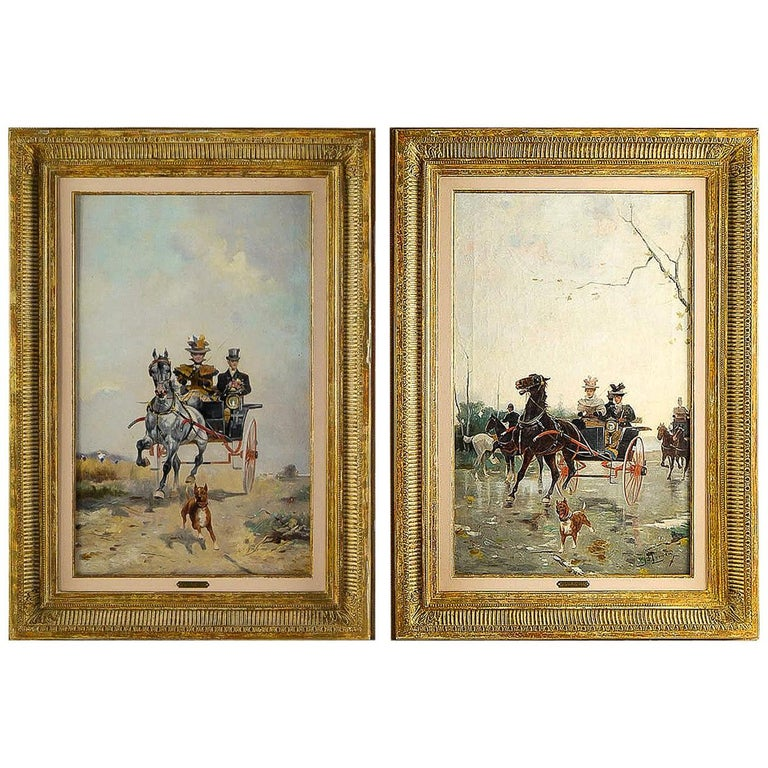 Harvey James Pair of Oil on Canvas Walks in Carriages, circa 1850 For Sale