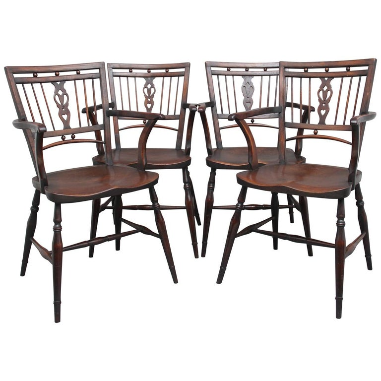 Set of Four Early 20th Century Mendlesham armchairs made from ash, yew and elm For Sale