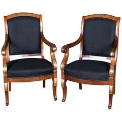 Two French Empire Armchairs circa 1860 Mahogany