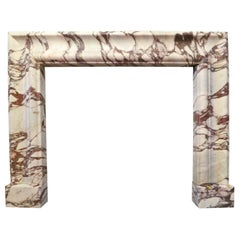 Large Breche Violette Marble Bolection Fireplace Mantel