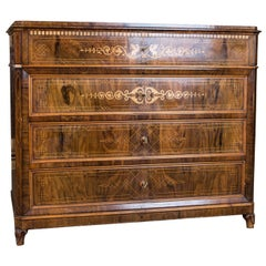 Biedermeier Writing Commode and Chest of Drawers circa 1850 with Fine Inlays