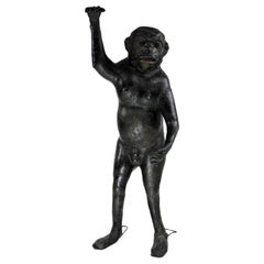 Life-Size 19th Century French Leather Monkey with Green Glass Eyes