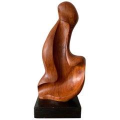 Organic Teak Wood Sculpture Signed Appu