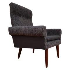 Danish Designed Armchair, 1970s, Wool, Teak Wood, Completely Restored