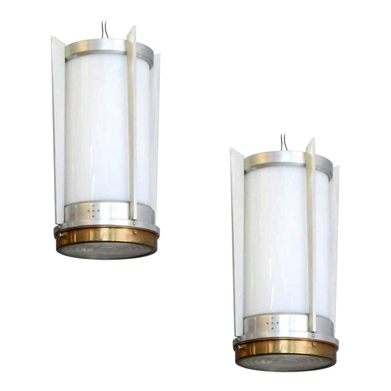 Mid-Century Aluminum Cylinder Hanging Lamp Pair, circa 1960