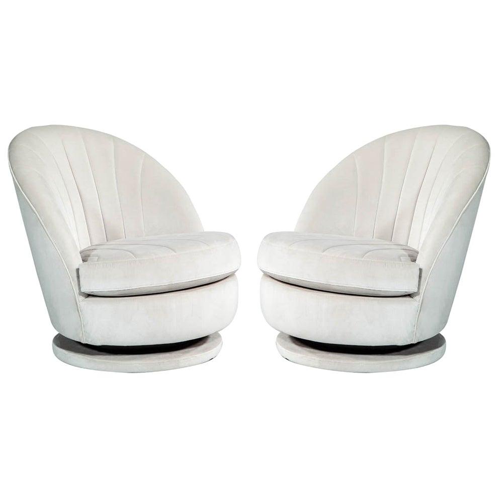 Pair of Milo Baughman Swivel Parlor Chairs