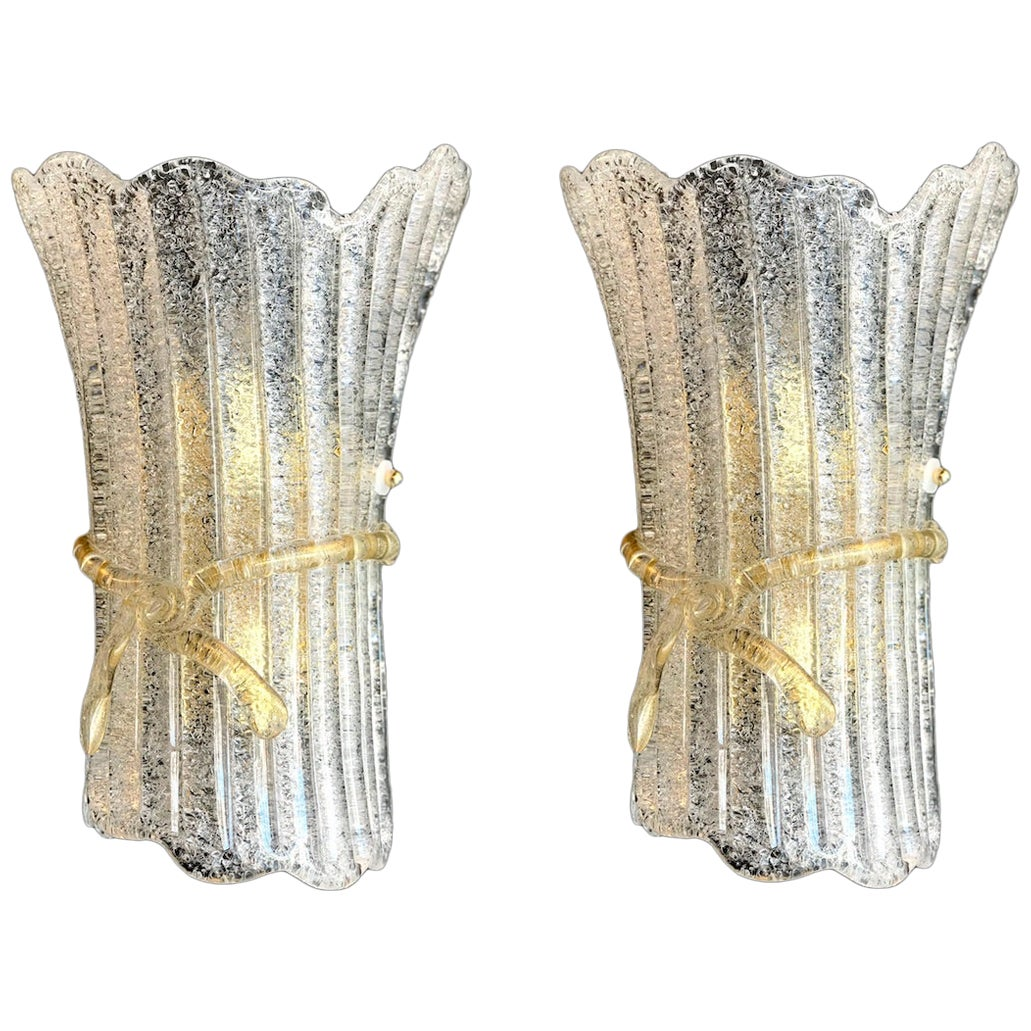Pair of Italian Murano Glass Wall Sconces by Barovier & Toso, 1970