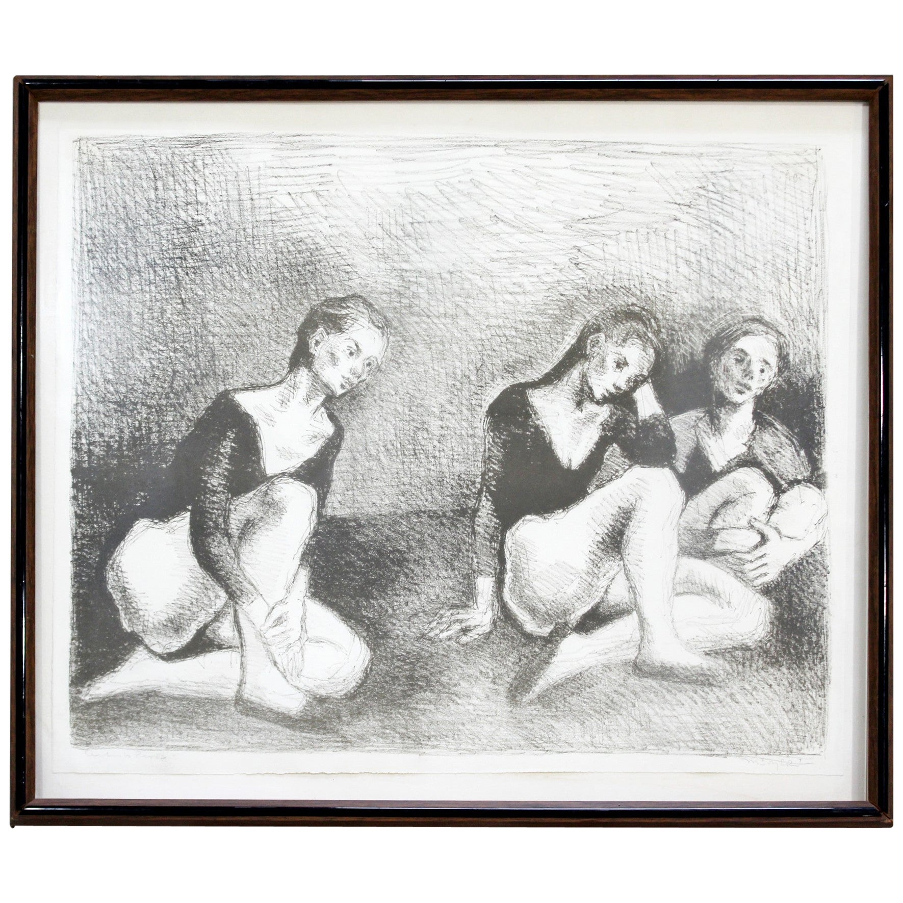 Mid-Century Modern Framed A.P. Lithograph Dancers Signed by Raphael Soyer