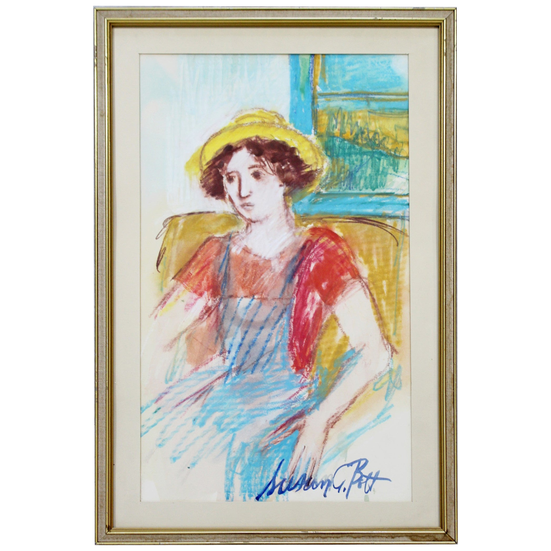 Mid-Century Modern Framed Susan Bolt Untitled Female Pastel Art Framed Signed