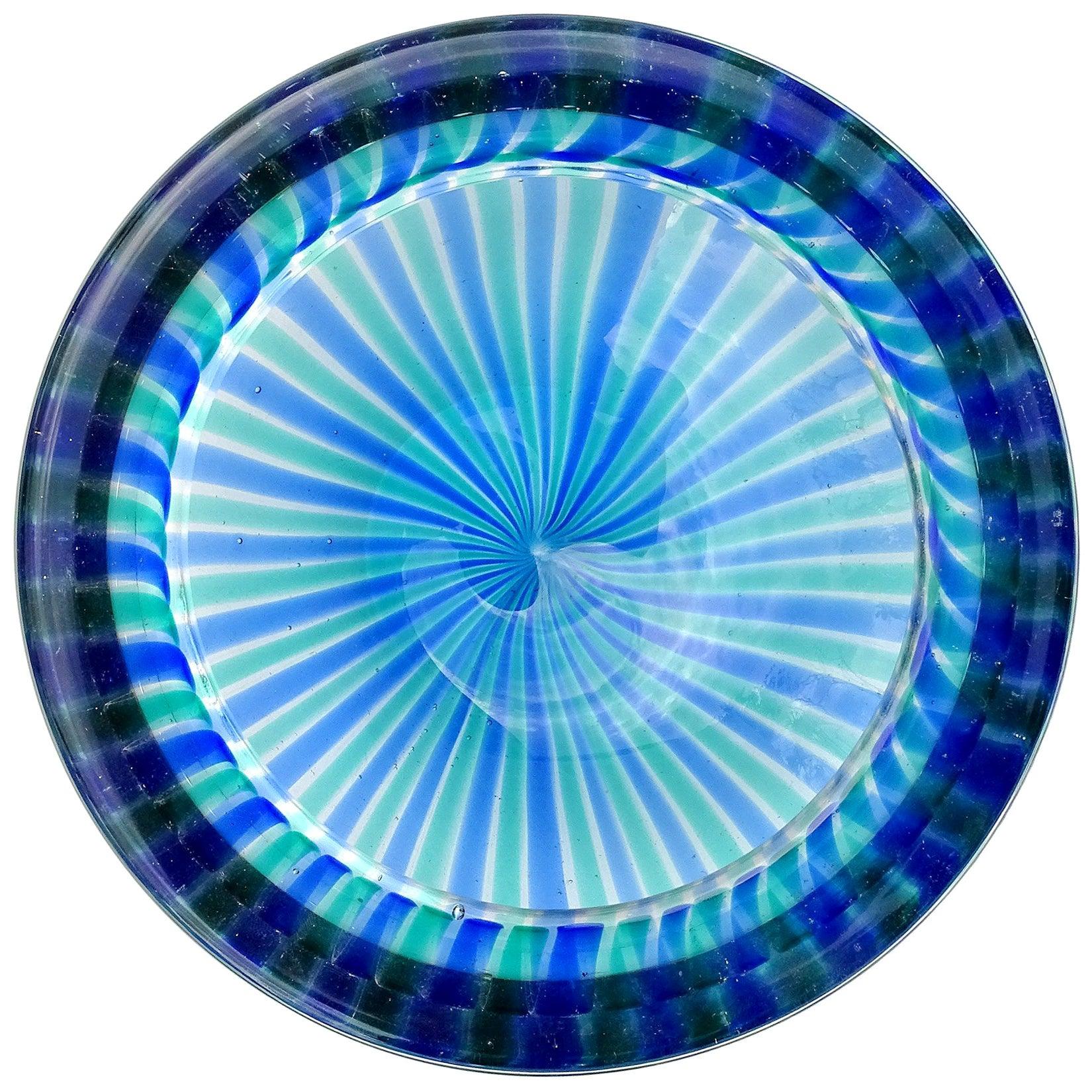 Fratelli Toso Murano Blue Green Ribbons Italian Art Glass Decorative Dish Bowl