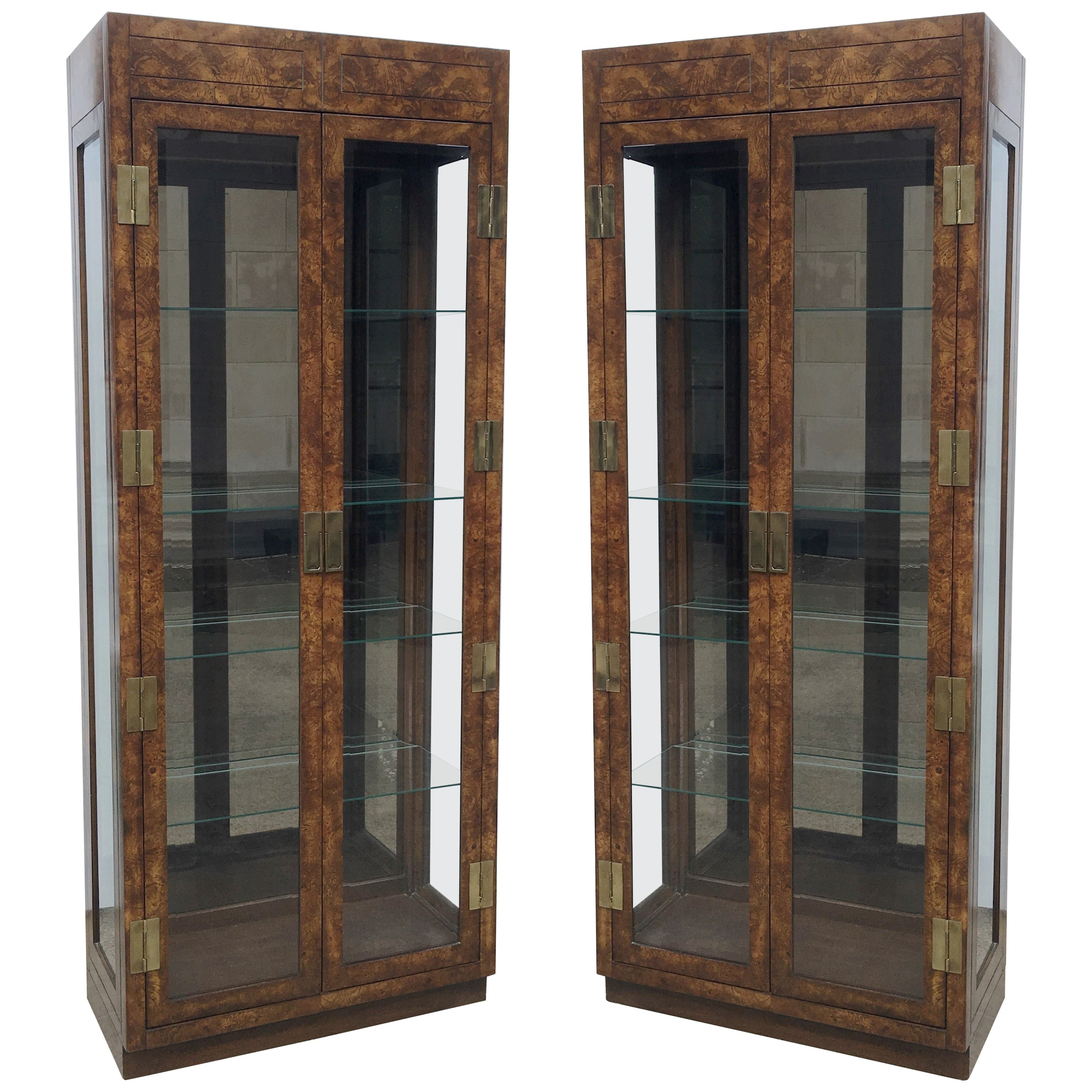 Vintage Burled Walnut Wood and Brass Vitrine or Display Cabinets