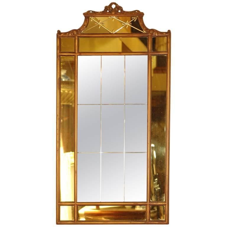 Art Deco Amber Glass Mirror