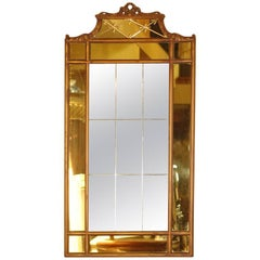Hollywood Regency Mirror with Yellow Tinted Border