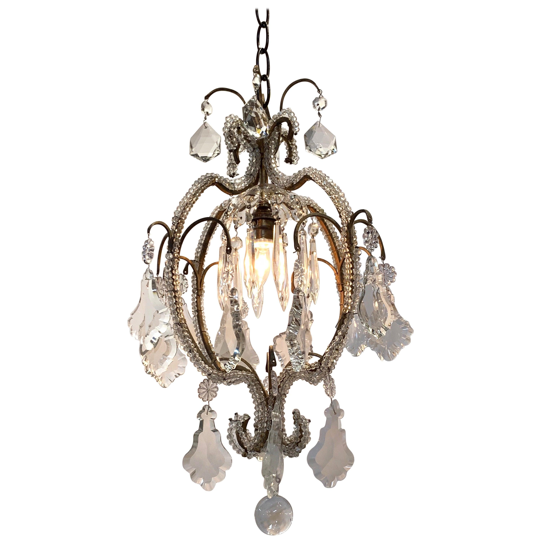 Italian Beaded Crystal Single Light Chandelier
