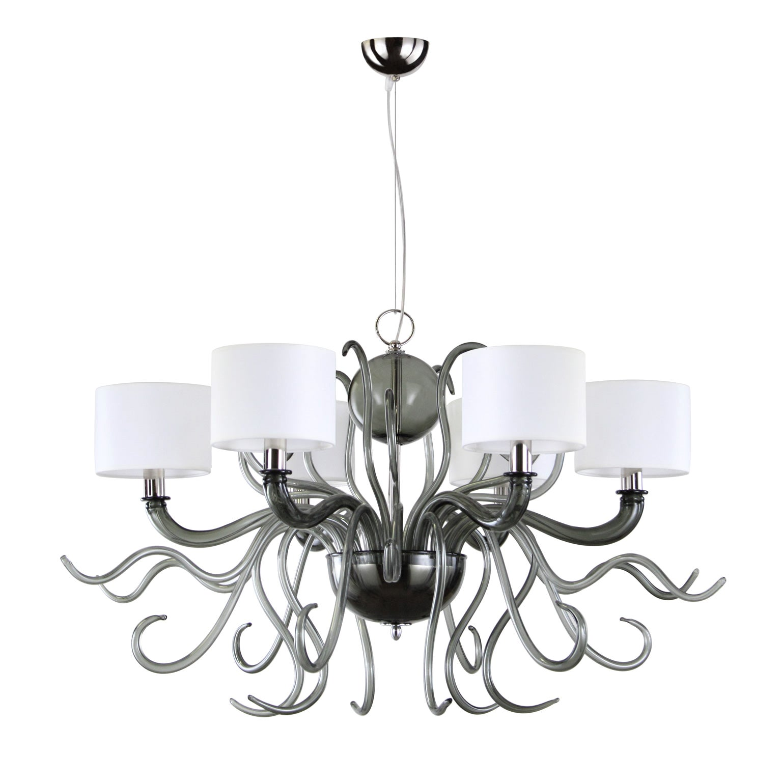 21st Century Chandelier 6arms Grey Murano Glass White Lampshades by Multiforme
