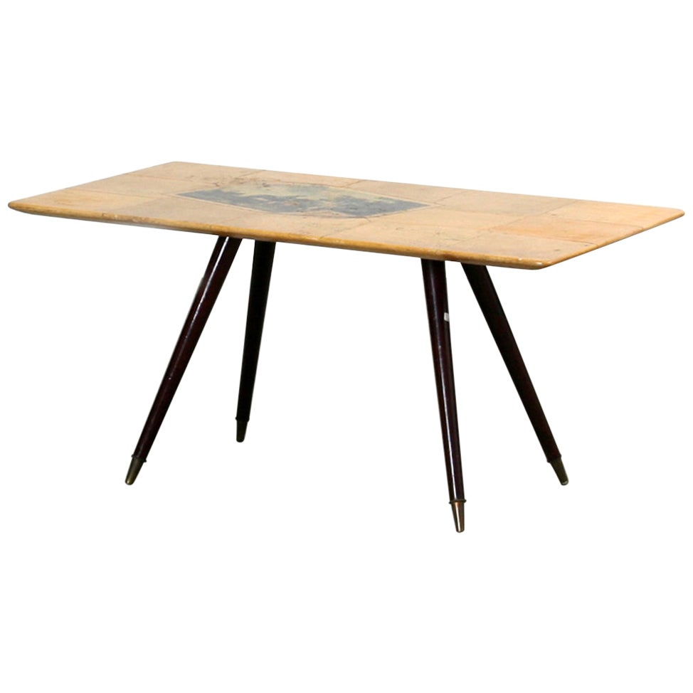 1960s Brown Goat Leather Side Table by Aldo Tura