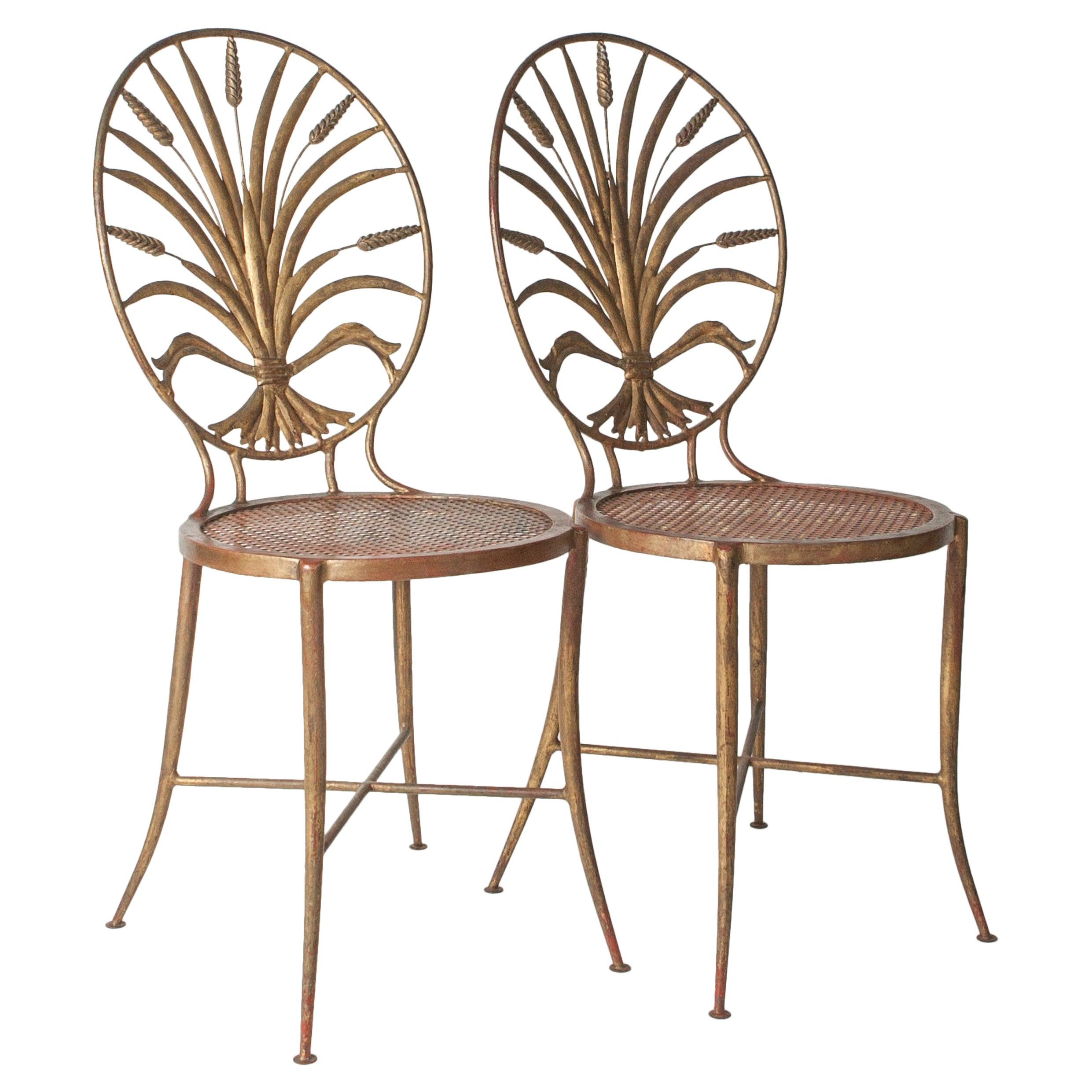 "1950s Italian Gilt ""Sheaf of Wheat"" Metal Sidechairs"