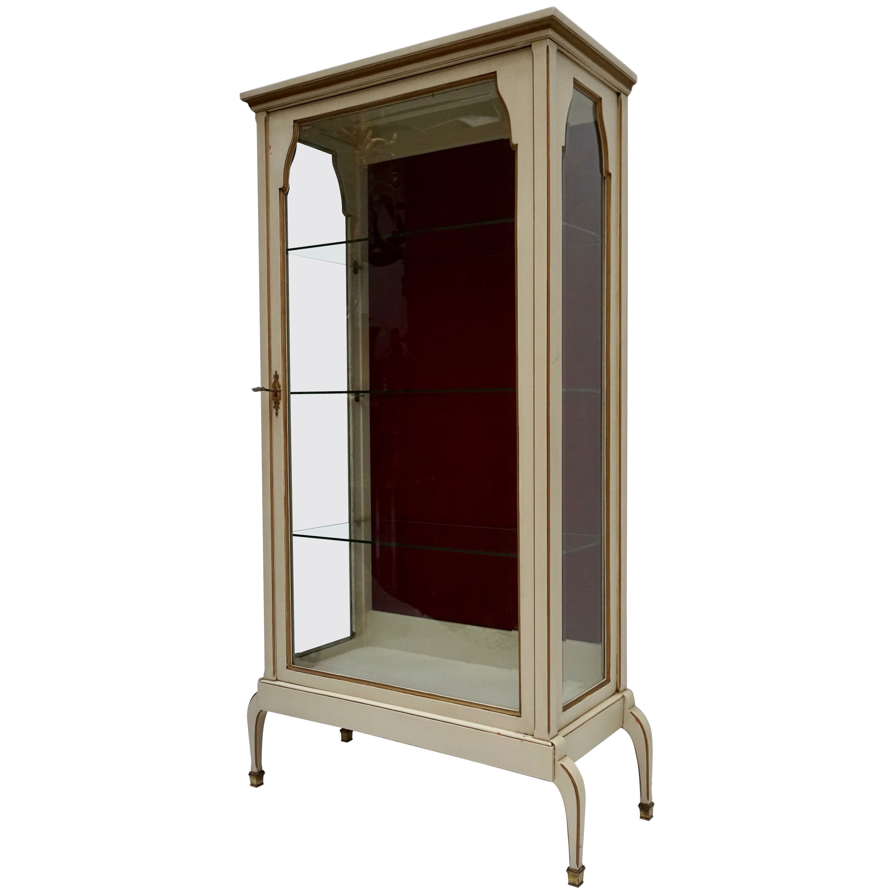 Cream and Gold Painted Wood and Glass Showcase Vitrine