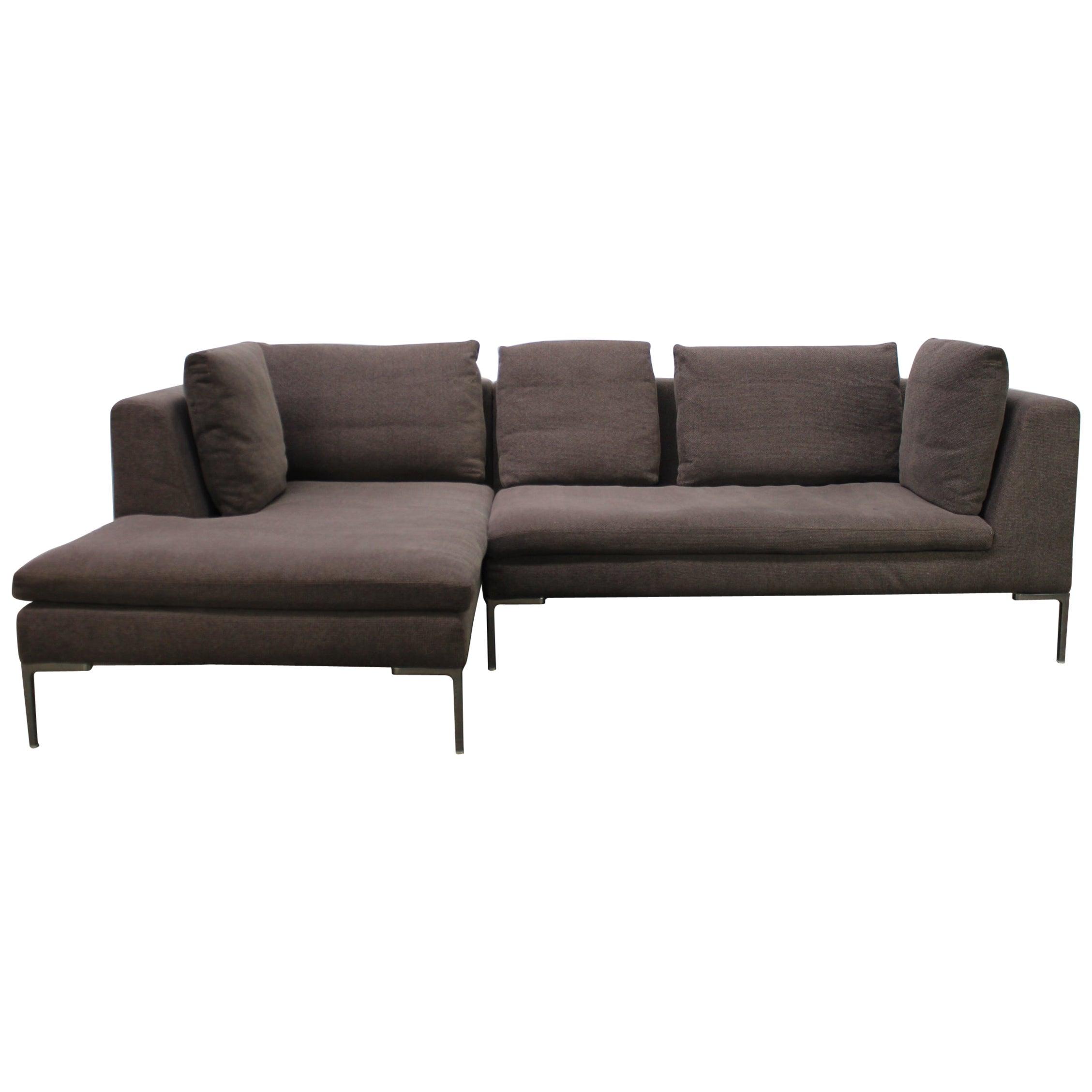"B&B Italia ""Charles"" Compact L-Shape Sectional Sofa in Grey Basketweave  Fabric"