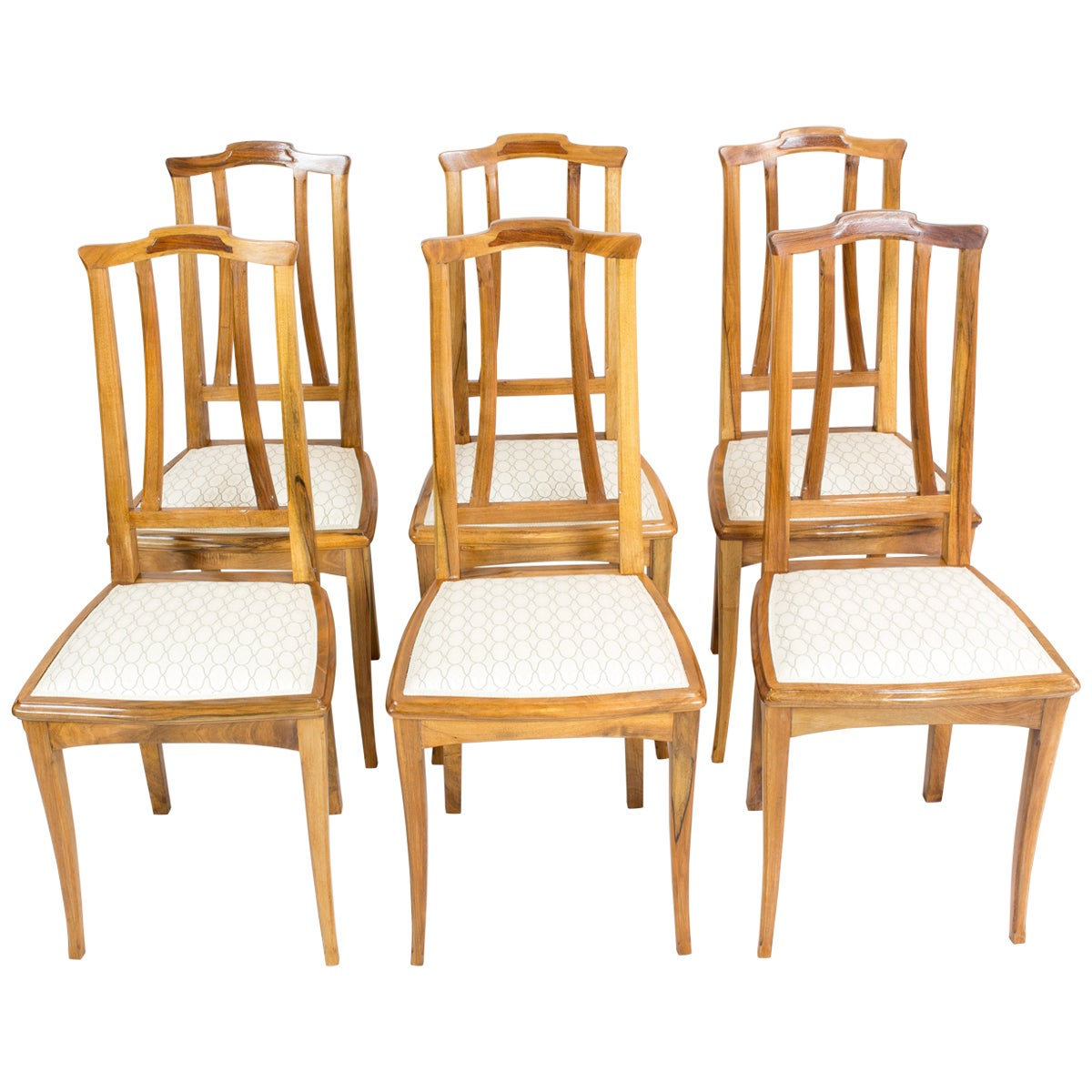 Set of Six Solid Walnut Art Nouveau Chairs from Germany