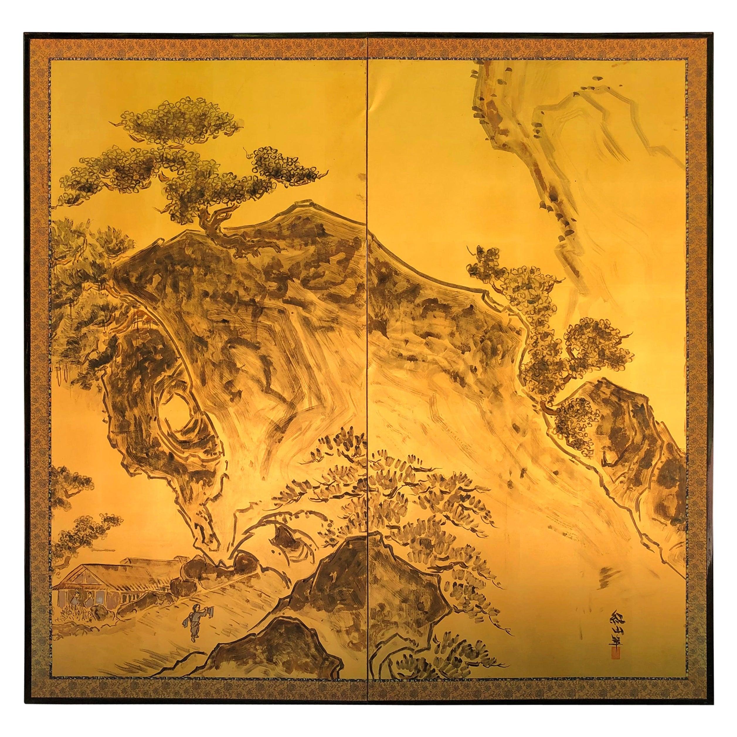 Japanese Peaceful Zen Gold Screen Mountain Tea House Retreat