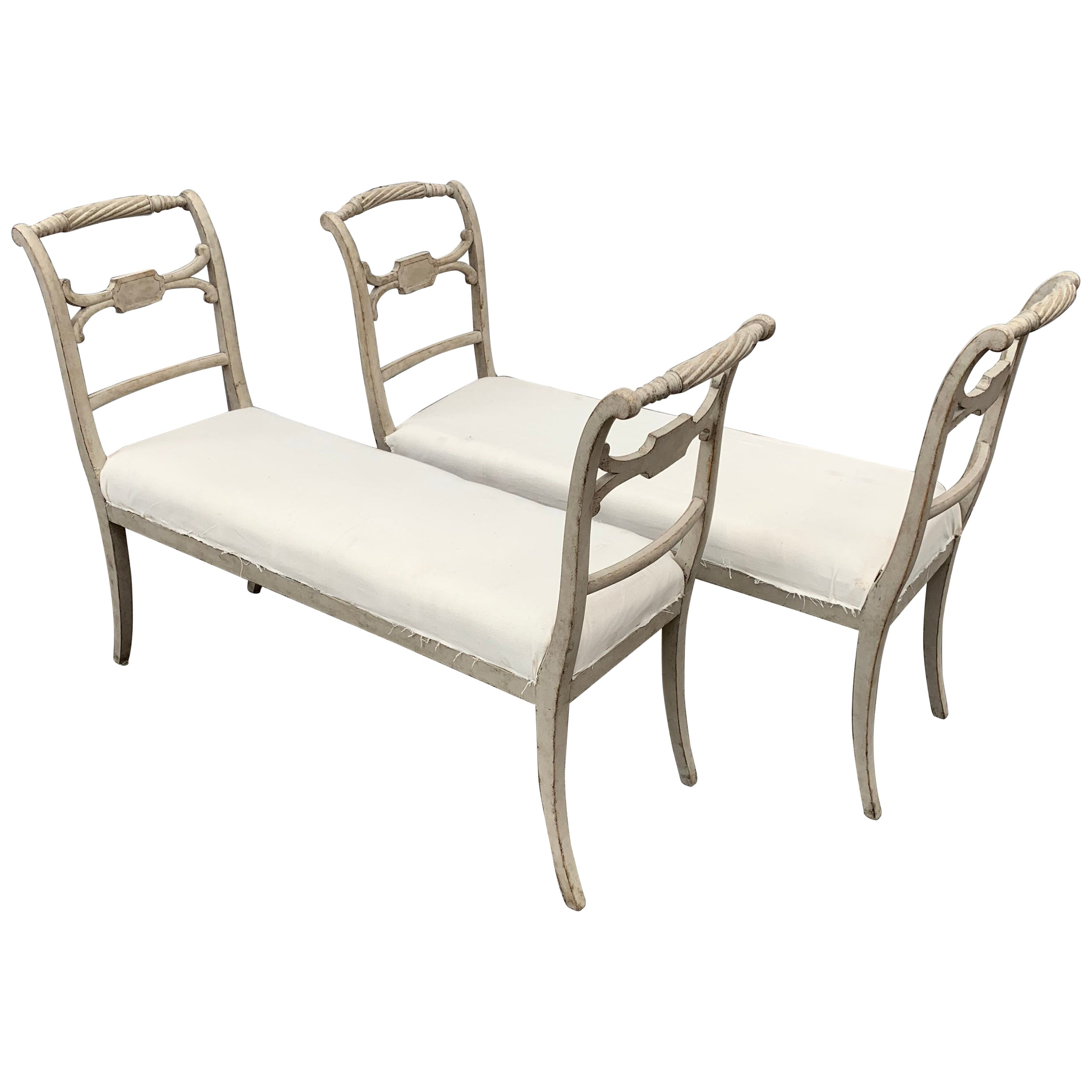Pair of Swedish Gustavian Style Grey Painted Benches or Settees
