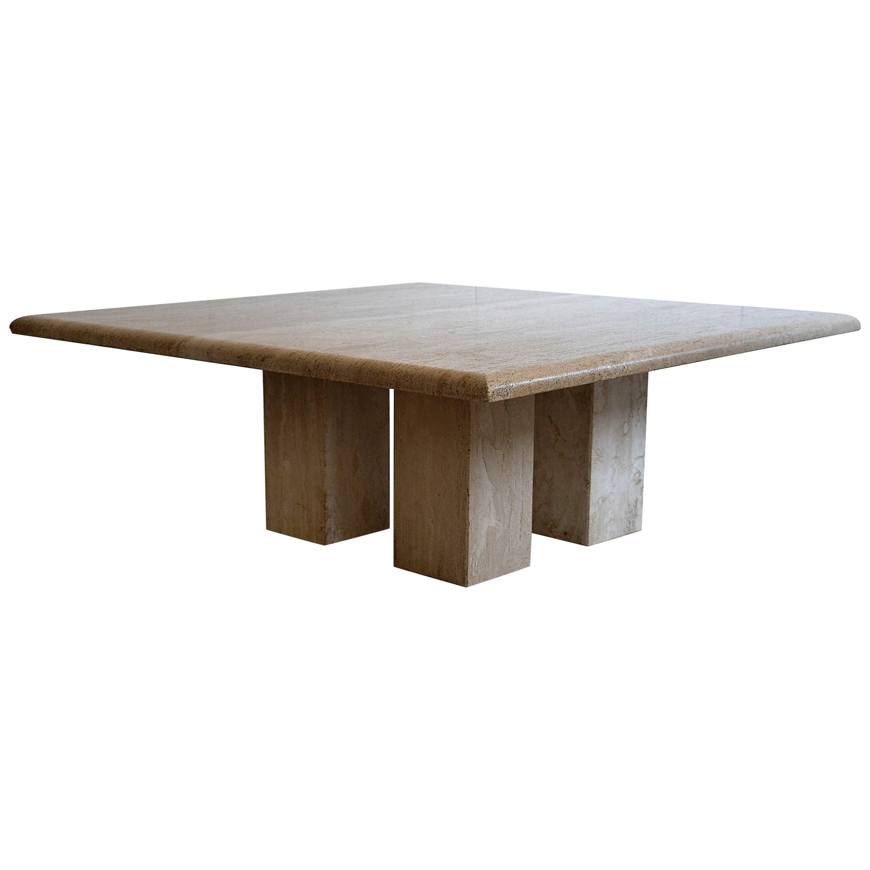 Mid-Century Modern Travertine Coffee Table