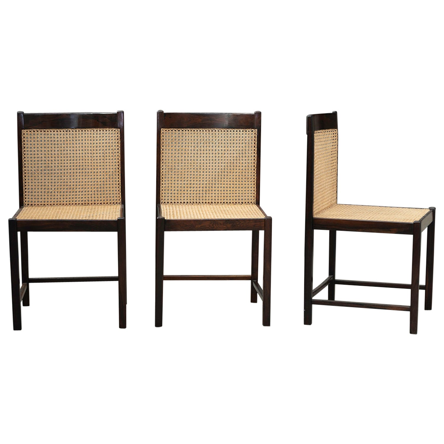 Set of Brazilian Rosewood and Straw Dining Chairs. Brazilian Midcentury Design