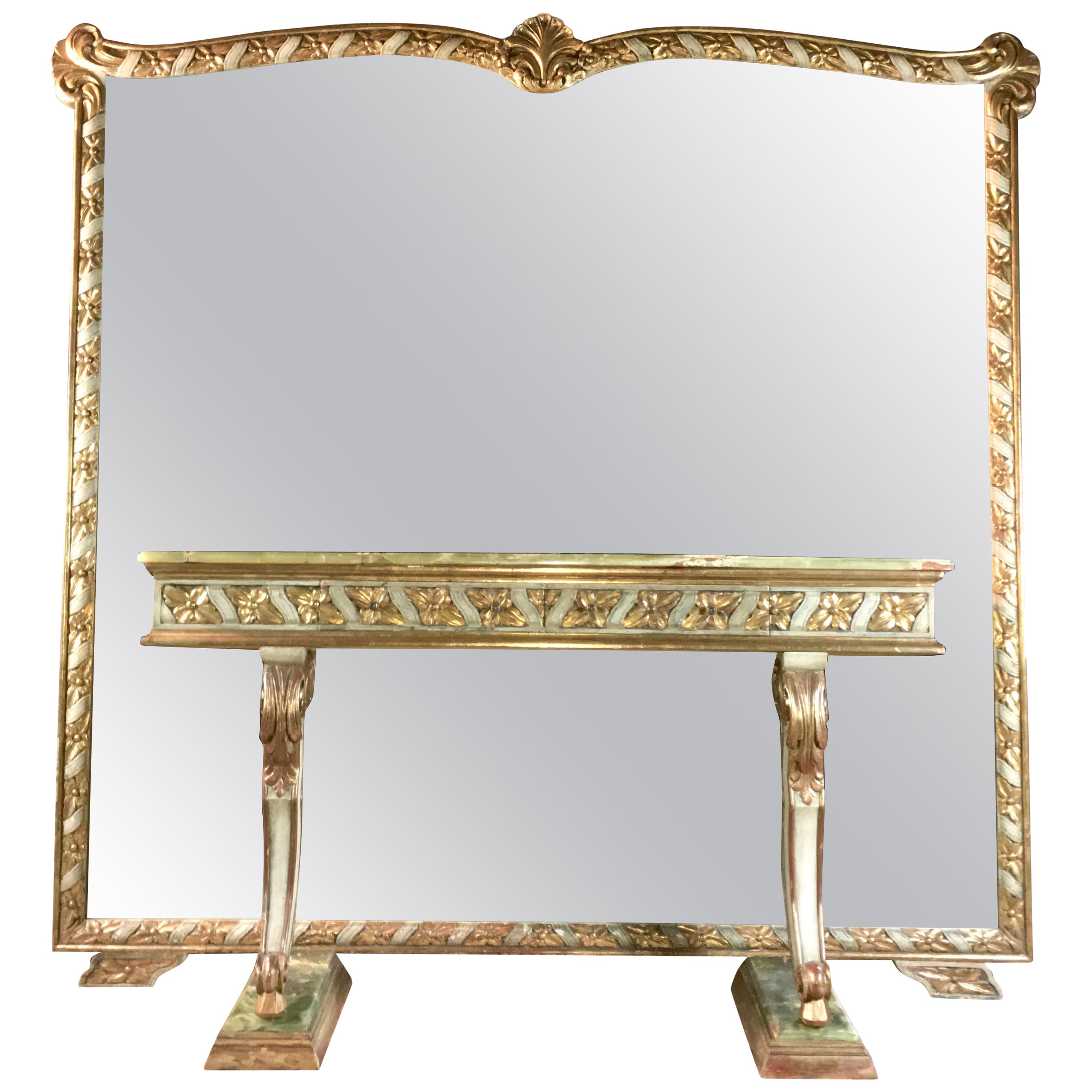Wall Size Italian Hall Mirror with Onyx Console