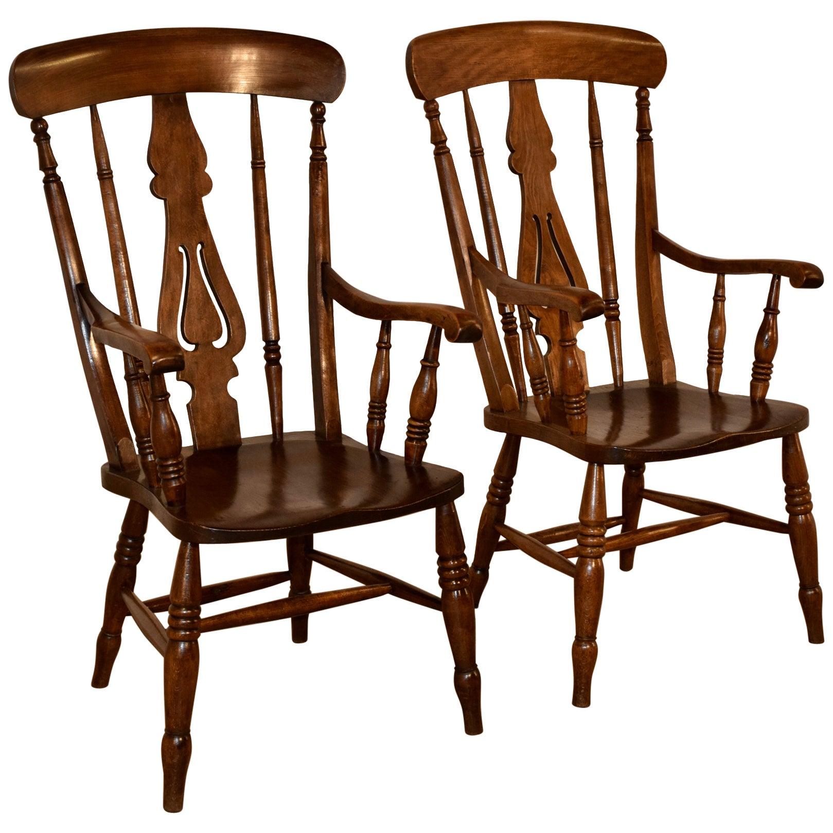 19th Century Pair of Lancashire Ladder Back Armchairs