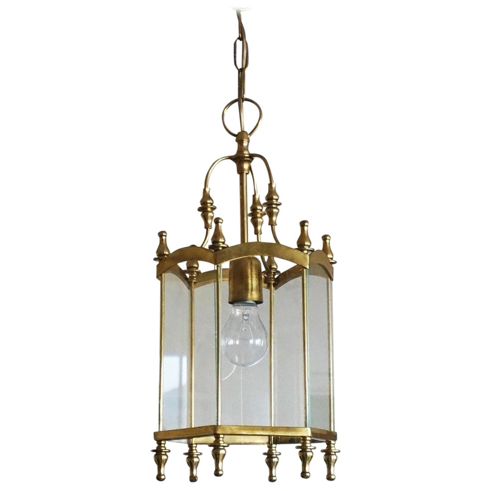 Mid-Century Italian Brass Clear Glass Lantern, Pendant