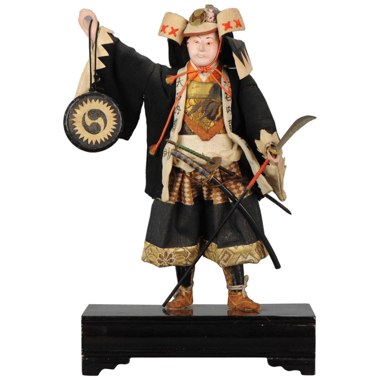 Lovely Japanese Ningyo Doll, Tanaka Doll, Samurai Warrior, 19th-20th Century
