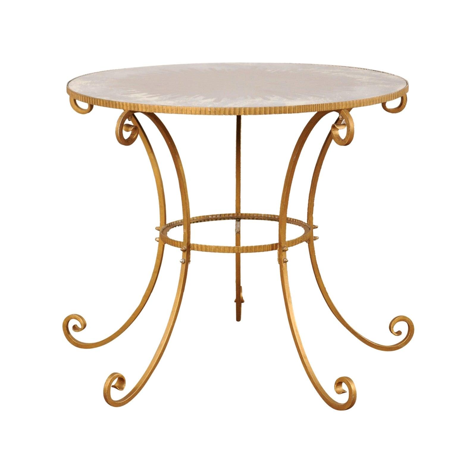 Midcentury American Tall Center Table with Églomisé Sunburst Mirrored Top