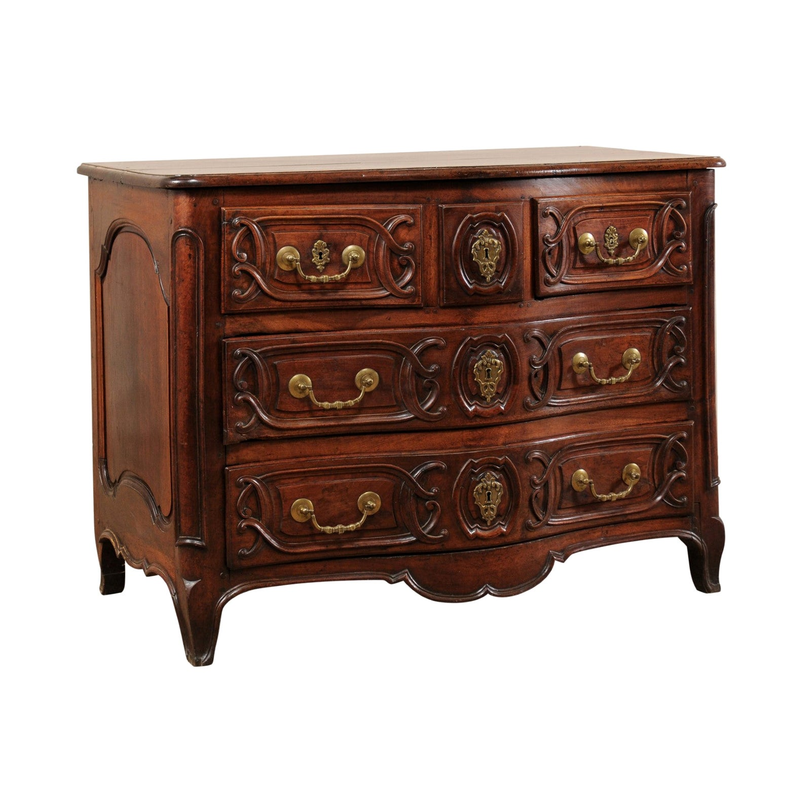 Elegant 18th Century French Louis XV Serpentine Commode