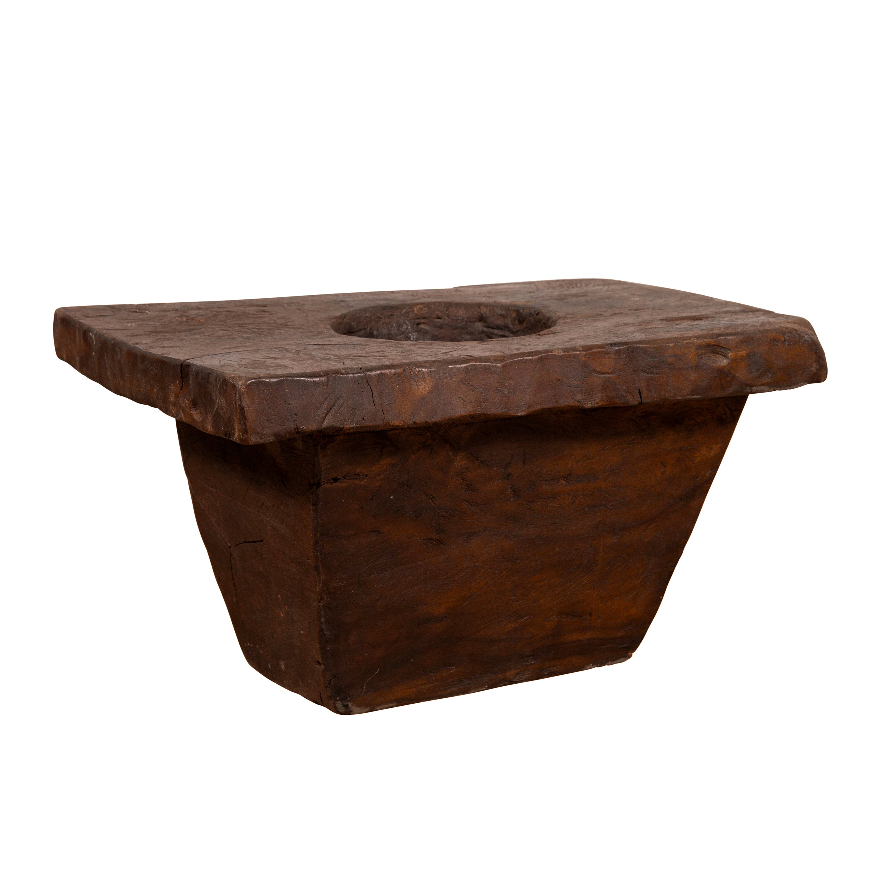 Rustic Antique Indonesian Brown Wooden Planter from the Early 20th Century