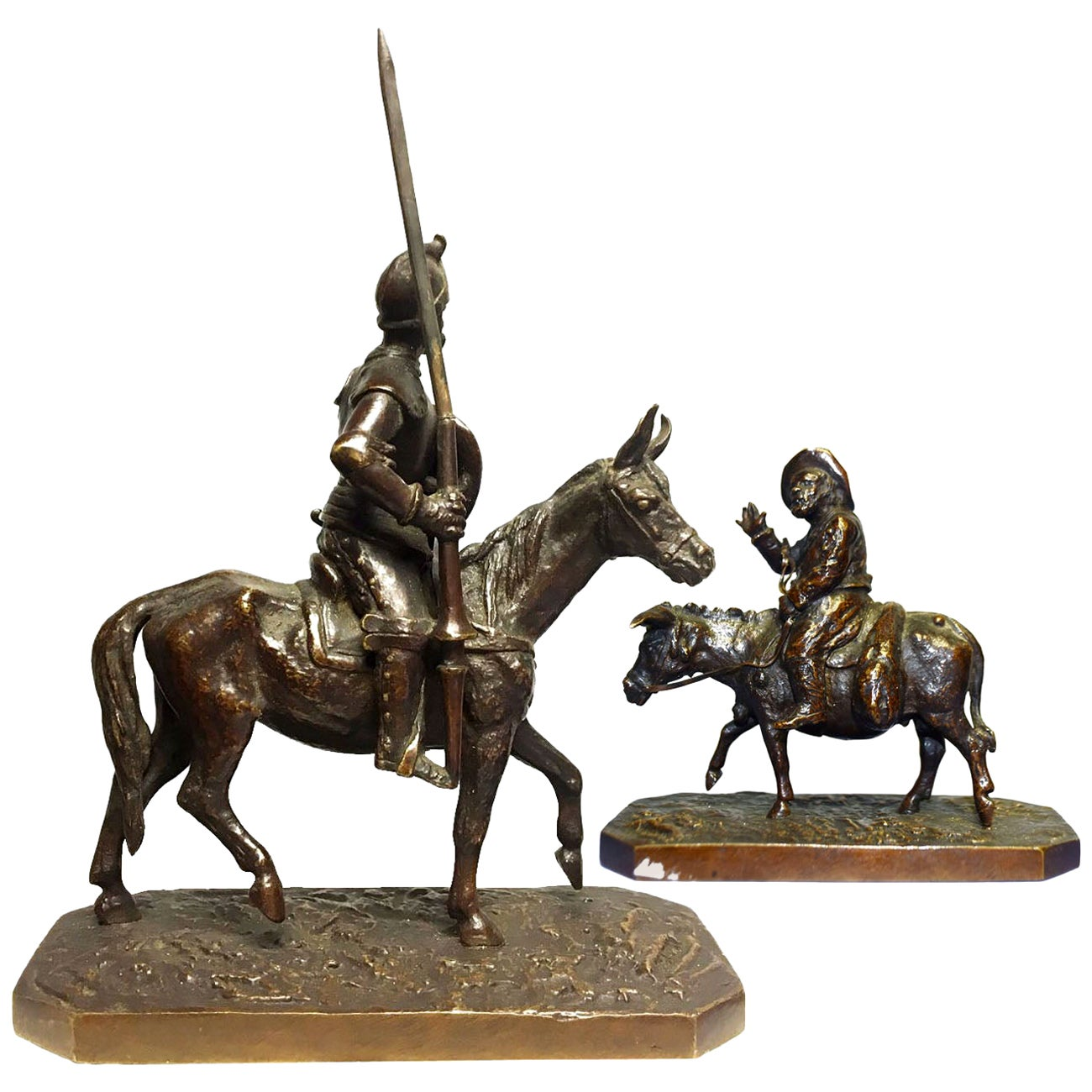 Don Quichotte and Sancho Pair of Bronze by Christophe Fratin