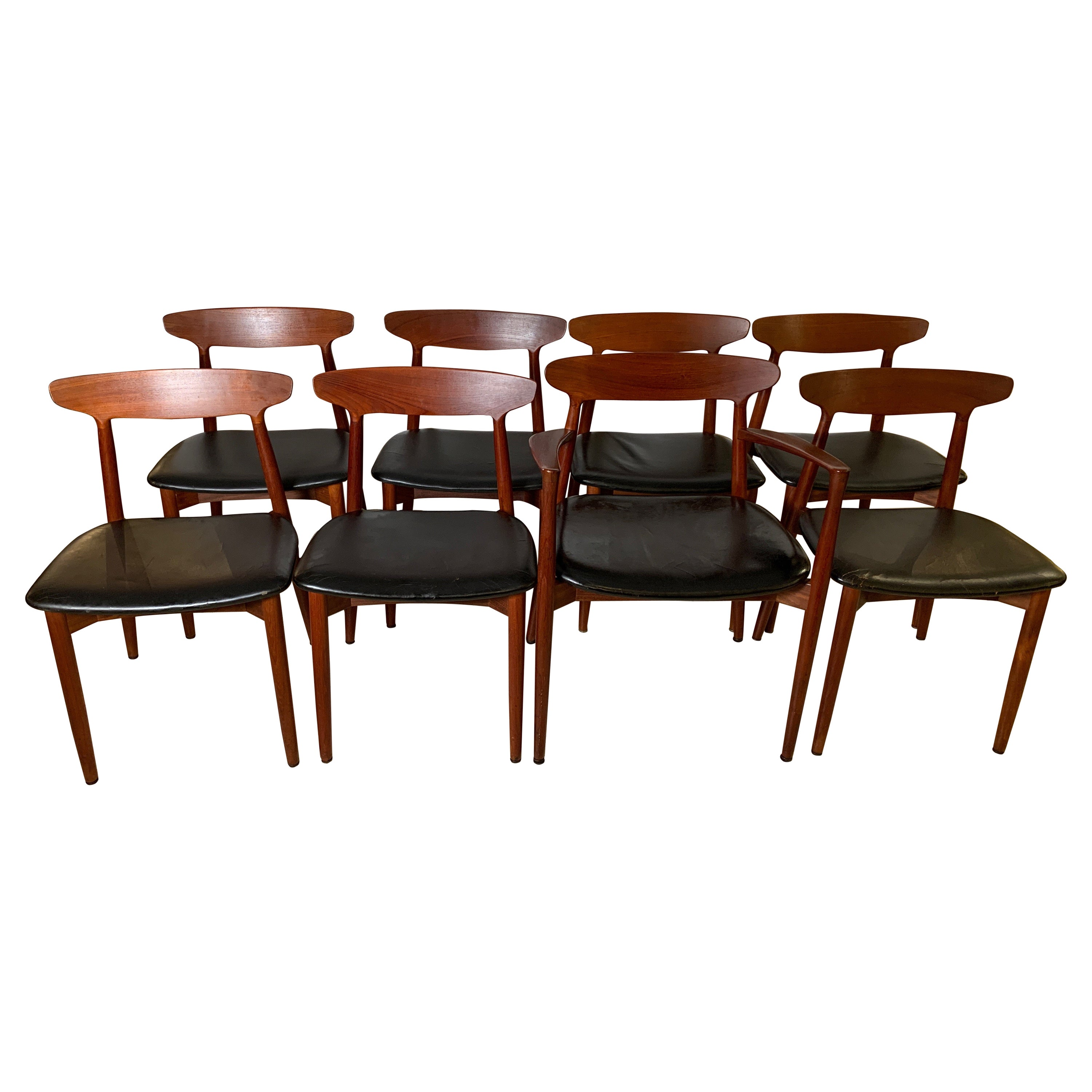 Harry Østergaard Set of Eight Teak and Leather Dining Chairs, Denmark, 1958