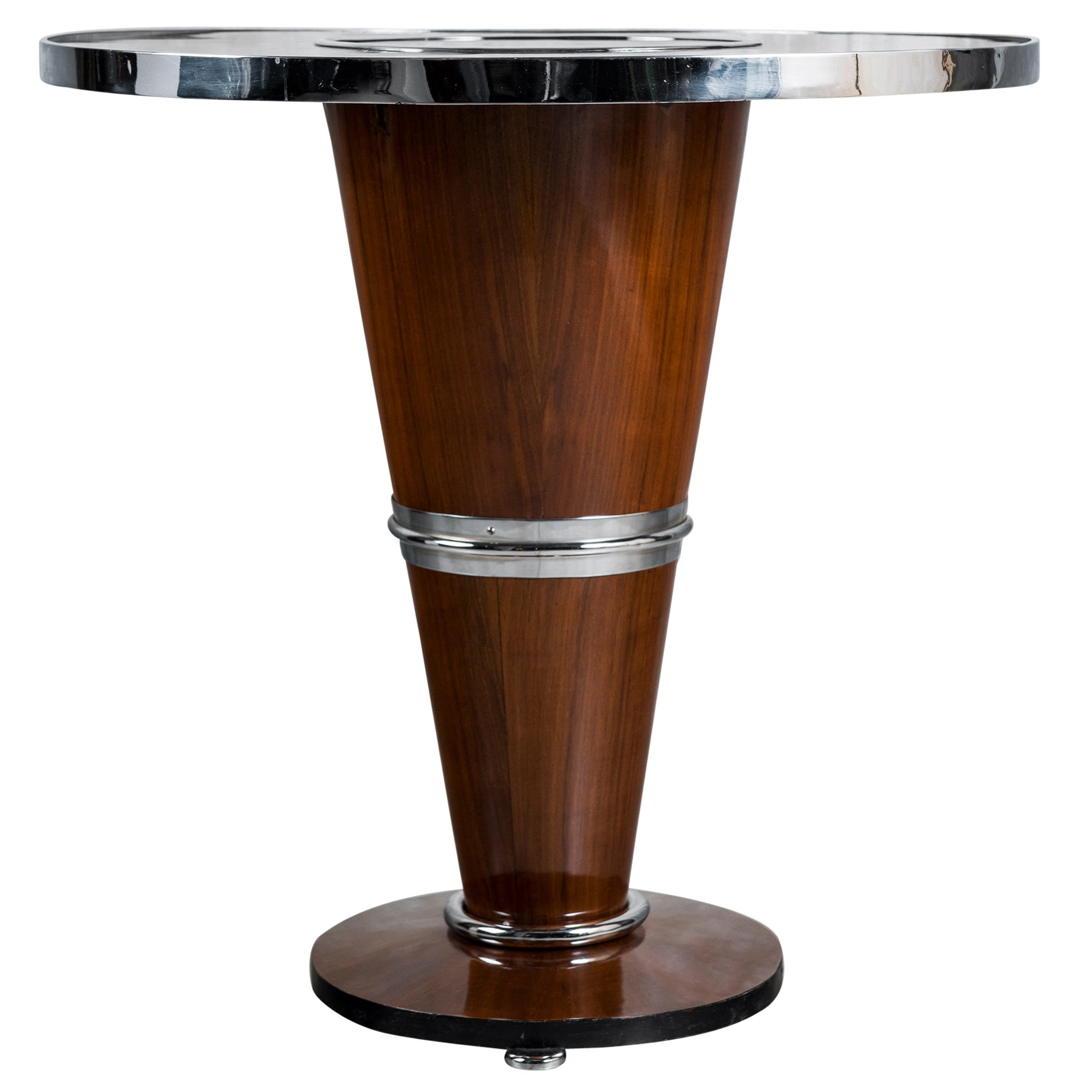 Wood, Chrome and Glass Table, Art Deco Period, France, circa 1930-1940