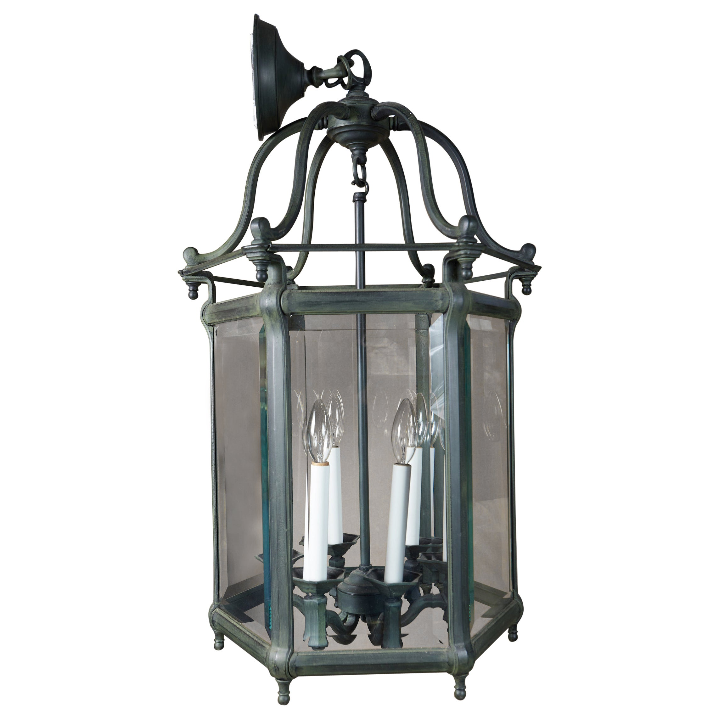 Elegant Pair of Solid Green Patinated Bronze Lanterns