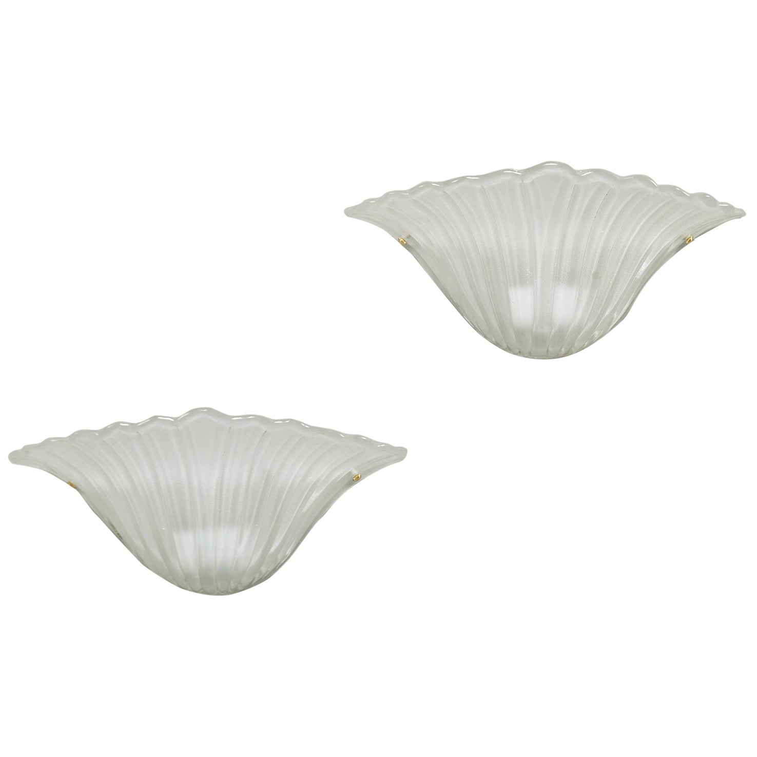 Pair of Art Deco White Frosted Shell Shape Sconces