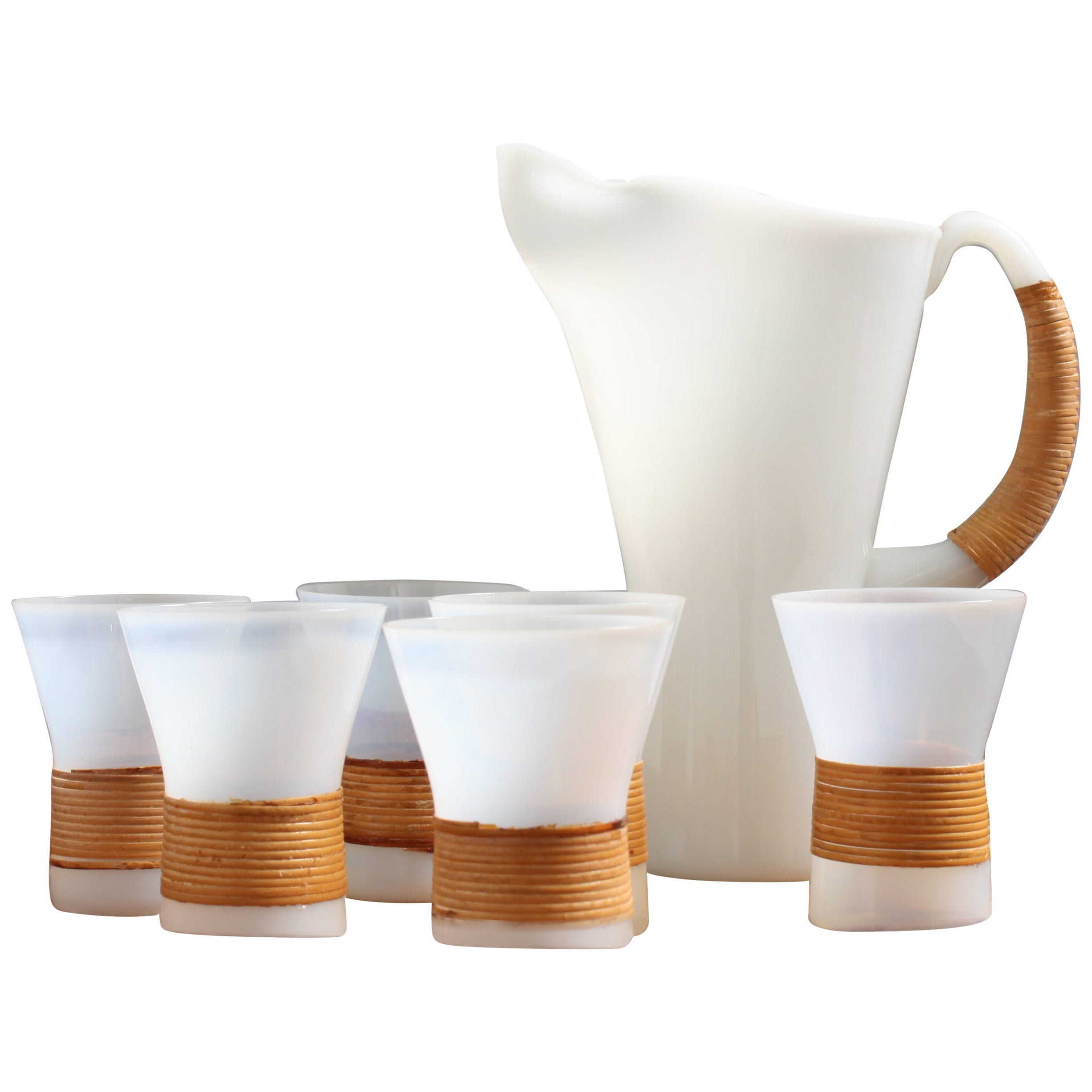 Midcentury Drink Pitcher and Six Glass by Jacob E. Bang, Danish Modern, 1950s